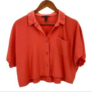 FOREVER 21 Orange Linen Cropped Button Shirt Small